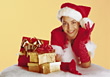 Ms. Claus with Gift Boxes stock image