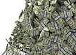 Much Money And Wealth. US Dollar Bundles Falling Down. Isolated Over White stock image