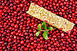 Muesli Bar, Twig With Leaves And Berries Lingonberry Background Of Lingonberry stock photography