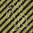 Murder Silhouette On Yellow Hazard Lines. Accident Prevention Or Crime Scene Concept Illustration. Vector, EPS8