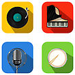 Music And Party Icon Set Over White Background