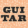Musical Background. Guitar Silhouettes Seamless Pattern. Decorative Text stock vector