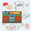 Musical Background With Retro Boom-box, Vector Illustration stock vector