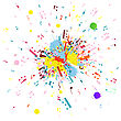 Musical Notes Flying From Grunge Blob. EPS 10 Vector Illustration