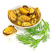 Mussels With Spices And Butter In A Dish, A Sprig Of Dill Is Isolated