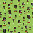 Mustaches And Accessories Seamless Pattern Isolated On Green Background