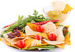 Nachos, Cherry Tomatos, Lettuce, Herbs In Plate On White Background