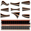 Negative Film Strips, Bits And Pieces For Your Design. Isolated Objects stock vector