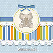 New Baby Boy Announcement Card With Elephant stock illustration