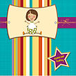 New Baby Girl Announcement Card With Little Girl, Vector Illustration