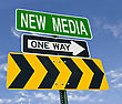 Blog New Media One Way Right Direction Road Sign stock photography