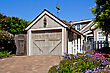New Residential Single-car Garage With Classic Z-brace Sectional Door In Carmel-by-the-Sea, California stock photo