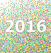 New Year Calendar Date 2016 Lettering Title Om Background Colorful Particles Confetti - Vector