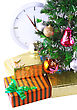 New Year And Christmas Tree And Gift Boxes, Clock . Isolated Over White Background stock photo