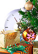 New Year And Christmas Tree And Gift Boxes, Clock . Isolated Over White Background