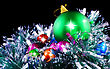 New Year Decoration- Balls, Tinsel .On Black Background stock photo