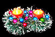 New Year Decoration- Balls, Tinsel, Candel .On Black Background stock image