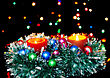 New Year Decoration- Balls, Tinsel, Candel .On Black Background stock photography