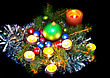 New Year Decoration- Balls, Tinsel, Candel .On Black Background stock photo