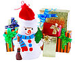 New Year Decoration- Snowman And New Year Year Gift Box. Close-Up. Isolated Over White stock photography