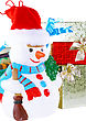New Year Decoration- Snowman And New Year Year Gift Box. Close-Up. Isolated Over White stock image