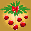 New Year's Golden Background With Fir Branches And Red Balls