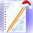 New Year's Notebook With Snowflakes And A Gold Pencil In A Red Cap stock image