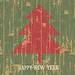 New Year Tree Symbol With Greetings On Wooden Planks Texture. Vector Illustration, EPS10