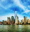 Sunrise New York City Cityscape Panorama On A Sunny Day stock photography