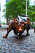 "NEW YORK CITY - MAY 12: Charging Bull Sculpture On May 12, 2013 In New York City. The Sculpture Is Both A Popular Tourist Destination Which Draws Thousands Of People A Day, As Well As ""one Of The Most stock photo"