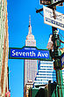 NEW YORK CITY - MAY 12: Seventh Avenue Sign And Empire State Building On May 12, 2013 In New York City. It's A 102-story Skyscraper Located In Midtown Manhattan