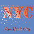 New York T-shirt Emblem.Print Typography. Retro Label. Vintage Sport Pattern. Starry Basketball Logo On Blue Background
