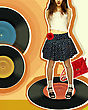 Nice Girl In Fashion Skirt On Music Record. Color Music Background With Grunge Abstract Elements stock photo