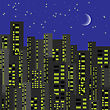 Night City Background. Urban Buildings With Luminous Windows