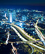 Futuristic Night City, Tel Aviv At Night, Crossroad Traffic stock image