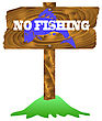 No Fishing Wooden Sign Isolated On White Background stock vector