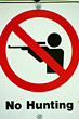 No Hunting Sign stock photo