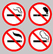 No Smoking, Cigarette, Smoke And Cigar Prohibited Symbols Isolated On Grey Background