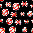 No Smoking, Cigarette, Smoke And Cigar Prohibited Symbols Isolated On Black Background. Seamless Pattern