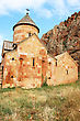 Noravank Monastery In Armenia, Red Rocky Mountains. stock photo