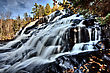 Northern Michigan UP Waterfalls Upper Peninsula Autumn Fall Colors stock photo
