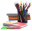 Notebook Stack And Pencils. Schoolchild And Student Studies Accessories stock photography
