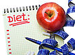 Notepad With Diet Plan And A Measuring Tape With Pills stock photo
