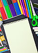 Notepad For Recording And Various School Supplies stock photo
