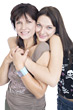 hug joy daughter pretty people caucasian stock photo