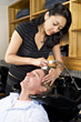 pamper stylist pampering shampooing people asian stock image