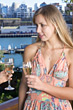 harbor drinking holding blond party people stock photo
