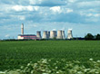 Nuclear Power Plant In Green Fields stock photo