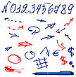 Numbers And Symbols (arrows) Set - Hand Drawn Picture