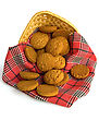 Oatmeal Cookies On A Red Checkered Napkin In A Wicker Basket Isolated stock image